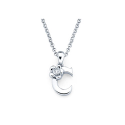 Adorable Small Letter C Pendant - Diamond Girls Initial Necklace - Sterling Silver Rhodium Chain and Pendant /