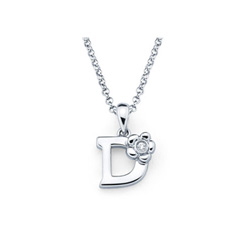 Adorable Small Letter D Pendant - Diamond Girls Initial Necklace - Sterling Silver Rhodium Chain and Pendant /