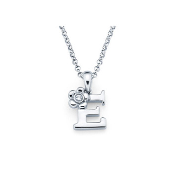 Children's Initial Necklace - Letter E - Sterling Silver