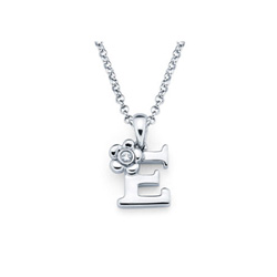 Adorable Small Letter E Pendant - Diamond Girls Initial Necklace - Sterling Silver Rhodium Chain and Pendant /