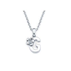 adorable small letter g pendant diamond girls initial necklace sterling silver rhodium chain and