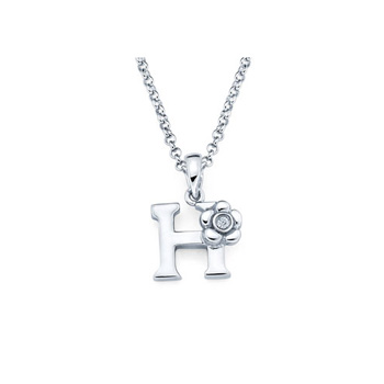 Children's Initial Necklace - Letter H - Sterling Silver