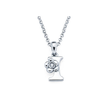 Children's Initial Necklace - Letter I - Sterling Silver
