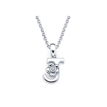 Children's Initial Necklace - Letter J - Sterling Silver