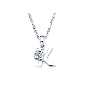 Children's Initial Necklace - Letter K - Sterling Silver