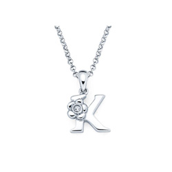 Adorable Small Letter K Pendant - Diamond Girls Initial Necklace - Sterling Silver Rhodium Chain and Pendant /