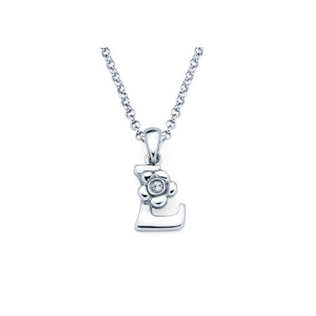 Children's Initial Necklace - Letter L - Sterling Silver