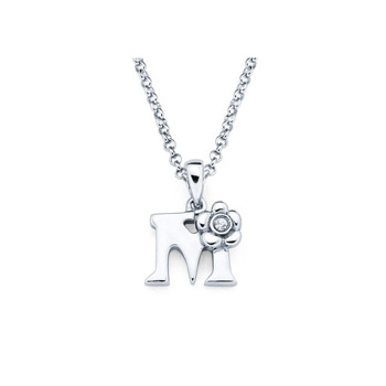 Children's Initial Necklace - Letter M - Sterling Silver