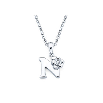 Children's Initial Necklace - Letter N - Sterling Silver