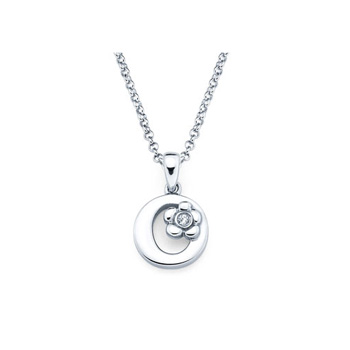 Children's Initial Necklace - Letter O - Sterling Silver