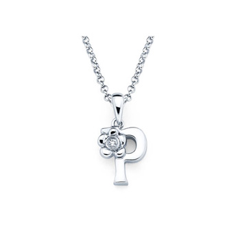 Children's Initial Necklace - Letter P - Sterling Silver