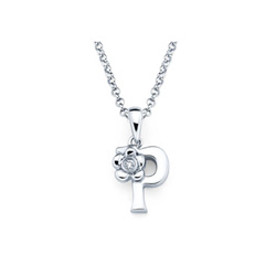 Adorable Small Letter P Pendant - Diamond Girls Initial Necklace - Sterling Silver Rhodium Chain and Pendant /