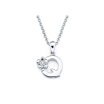 Adorable Small Letter Q Pendant - Diamond Girls Initial Necklace - Sterling Silver Rhodium Chain and Pendant