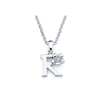 Adorable Small Letter R Pendant - Diamond Girls Initial Necklace - Sterling Silver Rhodium Chain and Pendant