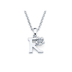 Adorable Small Letter R Pendant - Diamond Girls Initial Necklace - Sterling Silver Rhodium Chain and Pendant /