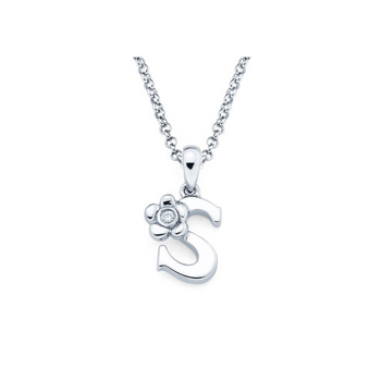 Adorable Small Letter S Pendant - Diamond Girls Initial Necklace - Sterling Silver Rhodium Chain and Pendant