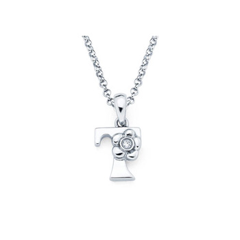 Children's Initial Necklace - Letter T - Sterling Silver