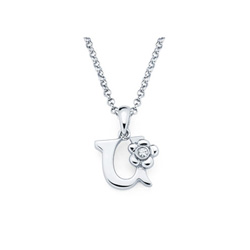 Adorable Small Letter U Pendant - Diamond Girls Initial Necklace - Sterling Silver Rhodium Chain and Pendant /