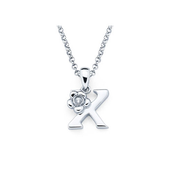 Children's Initial Necklace - Letter X - Sterling Silver