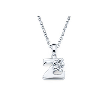 Children's Initial Necklace - Letter Z - Sterling Silver