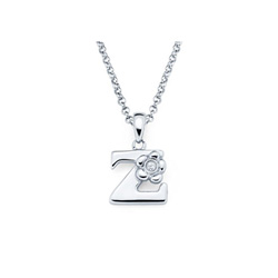 Adorable Small Letter Z Pendant - Diamond Girls Initial Necklace - Sterling Silver Rhodium Chain and Pendant /