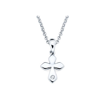 Elegant Small Cross Pendant - Diamond Girls Necklace - Sterling Silver Rhodium
