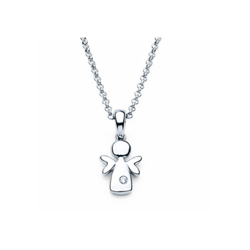 "Angel Pendant - Diamond Girls Necklace - Sterling Silver Rhodium - 16""  (adjustable at 15"" and 14"") rolo chain included - BEST SELLER"