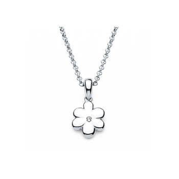 "Flower Pendant - Diamond Girls Necklace - Sterling Silver Rhodium - 16"" (adjustable at 15"" and 14"") rolo chain included"