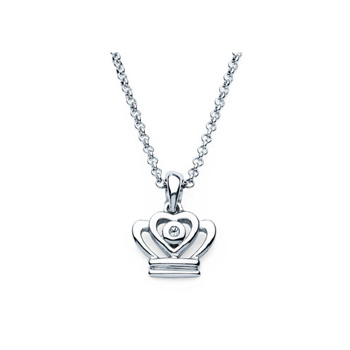 "Princess Crown Pendant - Diamond Girls Necklace - Sterling Silver Rhodium - 16"" (adjustable at 15"" and 14"") rolo chain included"