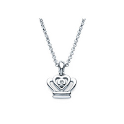Princess Crown Pendant - Diamond Girls Necklace - Sterling Silver Rhodium - 16