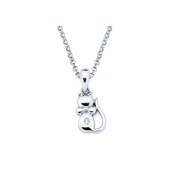Kitten Pendant - Diamond Girls Necklace - Sterling Silver Rhodium