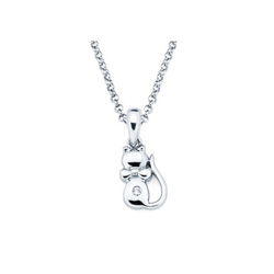 Kitten Pendant - Diamond Girls Necklace - Sterling Silver Rhodium/