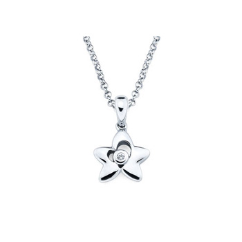 Star Pendant - Diamond Girls Necklace - Sterling Silver Rhodium