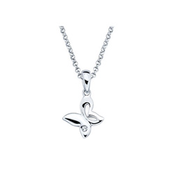 Butterfly Pendant - Diamond Girls Necklace - Sterling Silver Rhodium - 16