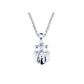 Happy Birthday Sweet Girl! - Present Pendant - Diamond Girls Necklace - Sterling Silver Rhodium