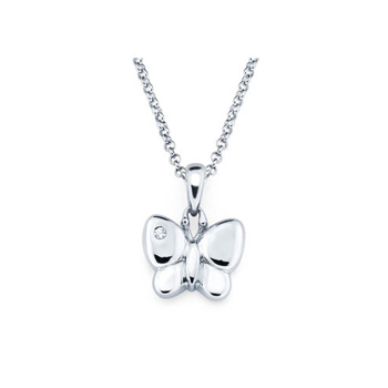 Butterfly Pendant - Diamond Girls Necklace - Sterling Silver Rhodium