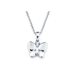 Butterfly Pendant - Diamond Girls Necklace - Sterling Silver Rhodium/