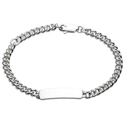 Girls and Boys Sterling Silver Rhodium Identification Bracelet - Engravable on front - Size 6 Adjustable to a Size 5 (Baby - 9 years) - BEST SELLER/