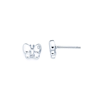 Butterfly Diamond Earrings for Girls and Baby - Sterling Silver Rhodium Earrings with Push-Back Posts