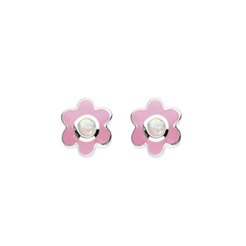 October Birthstone - Synthetic Opal Adorable Flower Girls Earrings - Sterling Silver Rhodium