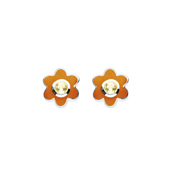 November Birthstone - Citrine Adorable Flower Girls Earrings - Sterling Silver Rhodium
