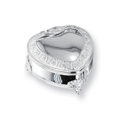 Charlotte - Engravable Elegant Heart Silver-Plated Jewelry Box/