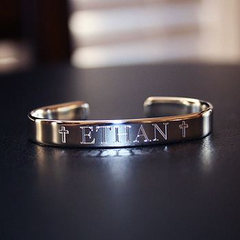Ethan Boys Heirloom Christening Bracelet High End Sterling Silver Engraved Cuff