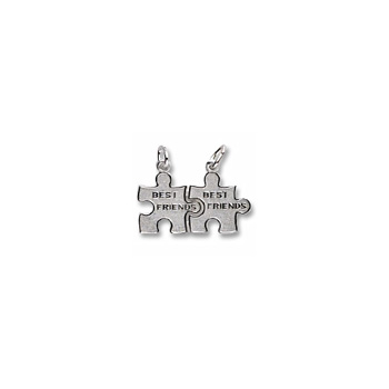 Rembrandt Sterling Silver Best Friend Puzzle Charm – Engravable on back - Add to a bracelet or necklace