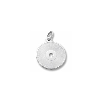 Rembrandt Sterling Silver Compact Disc Charm – Engravable on back - Add to a bracelet or necklace