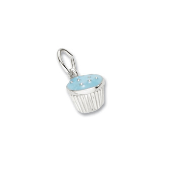 Rembrandt Sterling Silver Cupcake Charm (Blue Frosting) - Add to a bracelet or create a custom charm pendant necklace