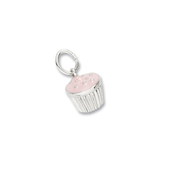 Rembrandt Sterling Silver Cupcake Charm (Pink Frosting) - Add to a bracelet or create a custom charm pendant necklace