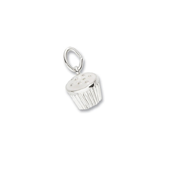 Rembrandt Sterling Silver Cupcake Charm (White Frosting) - Add to a bracelet or create a custom charm pendant necklace