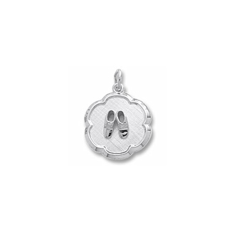 Rembrandt Sterling Silver Baby Shoes Disc Charm – Engravable on back - Add to a bracelet or necklace