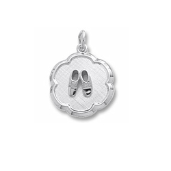 Rembrandt Sterling Silver Baby Shoes Disc Charm – Engravable on back - Add to a bracelet or necklace/